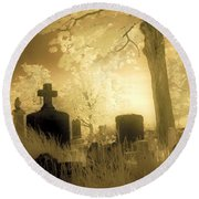 Abandoned And Overgrown Cemetery Round Beach Towel