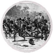 Aborigines, 19th Century Round Beach Towel