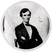 Abraham Lincoln, 16th American President Round Beach Towel