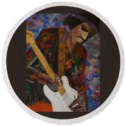 Abstract Jimi Hendrix Round Beach Towel