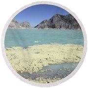 Acidic Crater Lake, Kawah Ijen Volcano Round Beach Towel