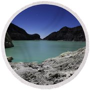 Acidic Crater Lake On Kawah Ijen Round Beach Towel