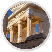 Acropolis Temple Round Beach Towel by Brian Jannsen