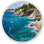 Adriatic Sea Coastline Round Beach Towel
