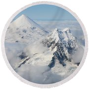 Aerial View Of Shishaldin Volcano Round Beach Towel