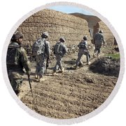 Afghan National Army And U.s. Soldiers Round Beach Towel