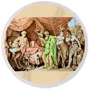 Alexander The Great And His Physician Round Beach Towel