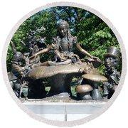 Alice In Wonderland In Central Park Round Beach Towel