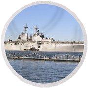 Amphibious Assault Ship Uss Wasp Round Beach Towel