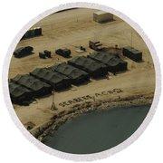 An Aerial View Of The White Beach Round Beach Towel