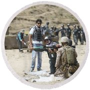 An Afghan Police Student Loads A Rpg-7 Round Beach Towel by Terry Moore