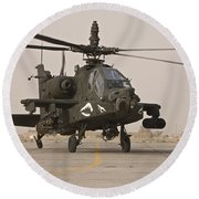An Ah-64 Apache Helicopter Taxiing Round Beach Towel