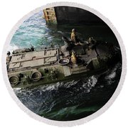 An Amphibious Assault Vehicle Enters Round Beach Towel