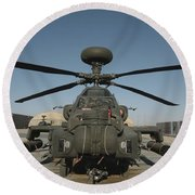 An Apache Helicopter At Camp Bastion Round Beach Towel