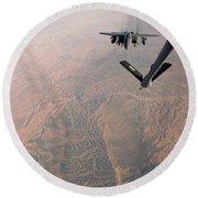 An F-15e Strike Eagle Is Refueled Round Beach Towel