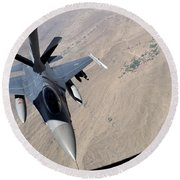 An F-16 Fighting Falcon Receives Fuel Round Beach Towel by Stocktrek Images