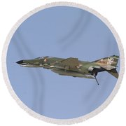 An F-4 Phantom In Flight Over Houston Round Beach Towel