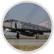 An F-4 Phantom Of The Turkish Air Force Round Beach Towel