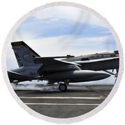 An Fa-18c Hornet Lands Aboard Round Beach Towel