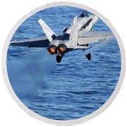 An Fa-18c Hornet Taking Off Round Beach Towel