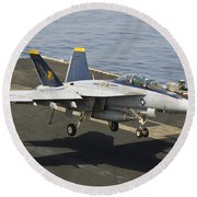 An Fa-18e Super Hornet Trap Landing Round Beach Towel