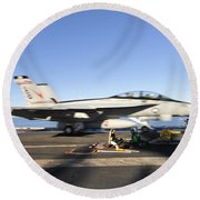 An Fa-18f Super Hornet Launches Round Beach Towel