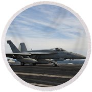 An Fa-18f Super Hornet Takes Round Beach Towel by Stocktrek Images