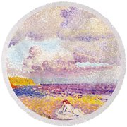 An Incoming Storm Round Beach Towel
