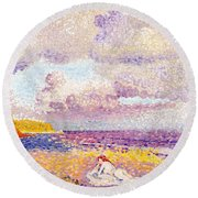 An Incoming Storm Round Beach Towel by Henri-Edmond Cross