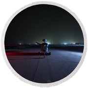 An Rq-5 Hunter Unmanned Aerial Vehicle Round Beach Towel
