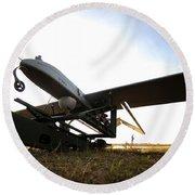 An Rq-7b Shadow Unmanned Aerial Vehicle Round Beach Towel