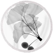 An X-ray Of Ginko Leaves Round Beach Towel