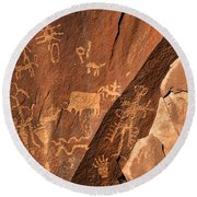 Ancient Indian Petroglyphs Round Beach Towel