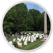 Anzac Cemetery In Harefield Churchyard Round Beach Towel