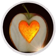 Apple With A Heart Round Beach Towel