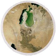 Aral Sea Round Beach Towel by NASA / Science Source