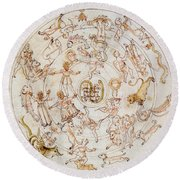 Aratuss Constellations Round Beach Towel by Science Source