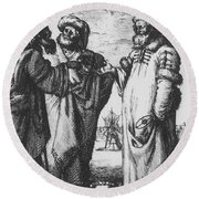 Aristotle, Ptolemy And Copernicus Round Beach Towel by Science Source