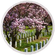 Arlington Cherry Trees Round Beach Towel