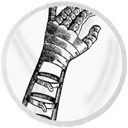 Artificial Hand Designed By Ambroise Round Beach Towel by Science Source