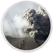 Ash Cloud Following Explosive Vulcanian Round Beach Towel