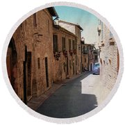 Assisi Italy Round Beach Towel