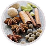 Assorted Spices Round Beach Towel