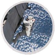 Astronaut Traverses Round Beach Towel