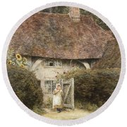 At The Cottage Gate Round Beach Towel