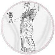 Athena, Greek Goddess Round Beach Towel by Photo Researchers