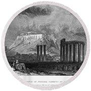 Athens: Olympian Zeus Round Beach Towel