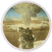 Atomic Bombing Of Nagasaki Round Beach Towel by Omikron