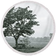 August In England Round Beach Towel