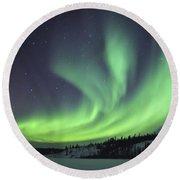 Aurora Borealis Over Prosperous Lake Round Beach Towel